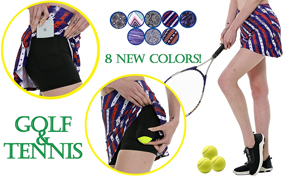 Women's Workout Active Skorts Sports Tennis Golf Skirt Built-in Shorts Casual Workout Clothes