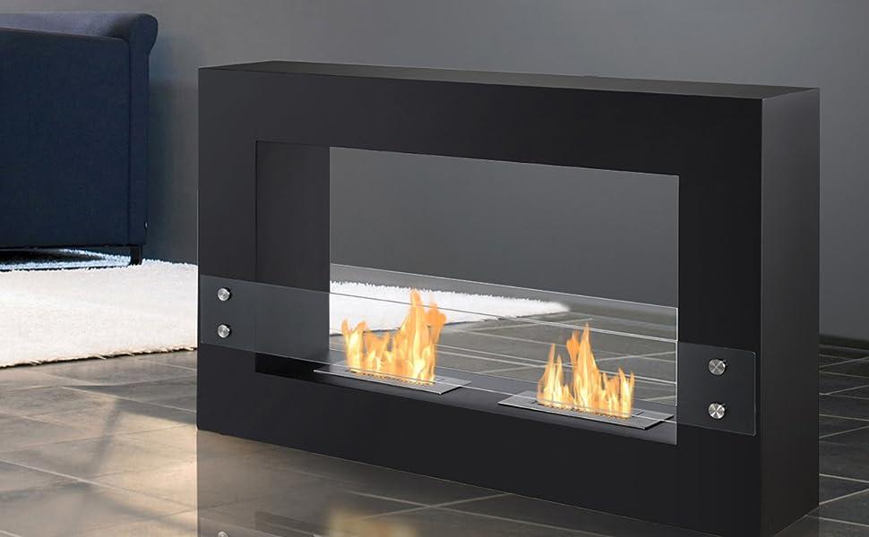 Tectum Black - Ventless Freestanding Ethanol Fireplace
