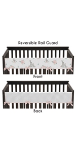 Blush Pink and Grey Woodland Boho Girl Long Front Crib Rail Guard Baby Teething Cover Protector Wrap