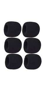 Moukey Microphone Mic Covers Foam Handheld Mic Windscreen, Black-6 Pack