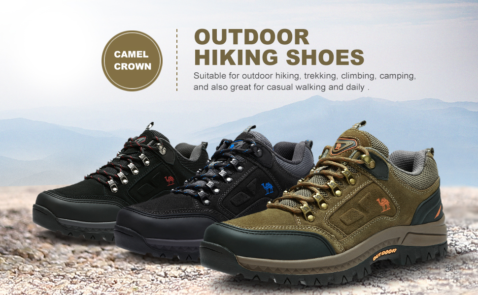 CAMEL CROWN Men's Hiking Shoes Low Cut Breathable Leather Casual Style Hiking Boots for Outdoors Trekking