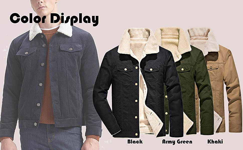Men's Winter Warm Fur Lapel Collar Sherpa Fleece Lined Denim Jacket Coats