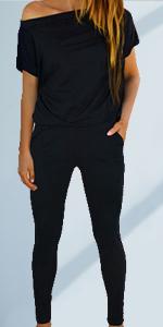 off hsoulder short sleeve jumpsuits