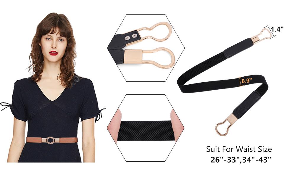 Fashion Women Lady Thin Skinny Waistband Belt Elastic Stretch Narrow Dress Strap