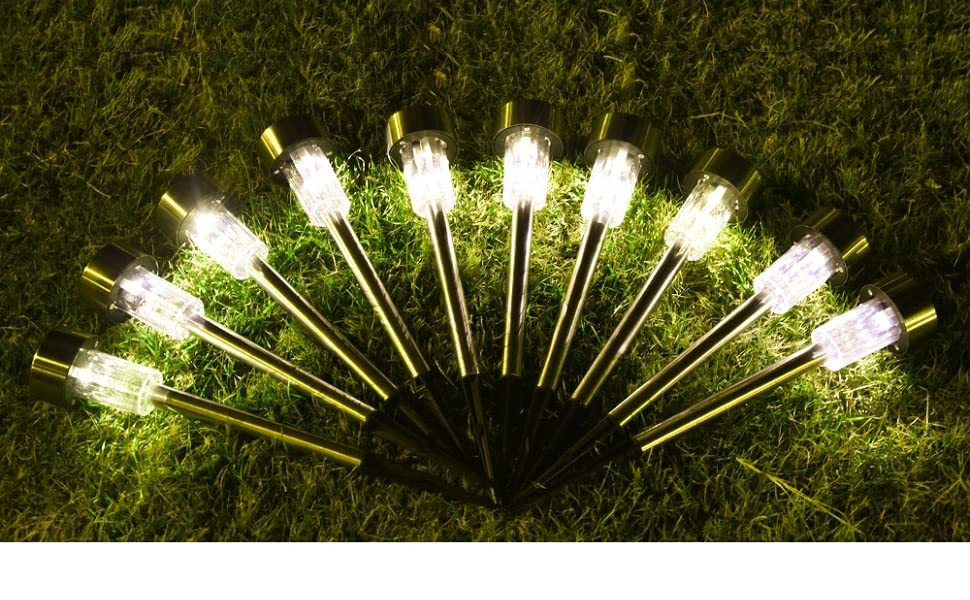 Luces solares LED de seguridad para iluminación al aire libre, iluminación para caminos, terrazas y patios, impermeables, acero inoxidable, 10-pack white solar light: Amazon.es: Iluminación