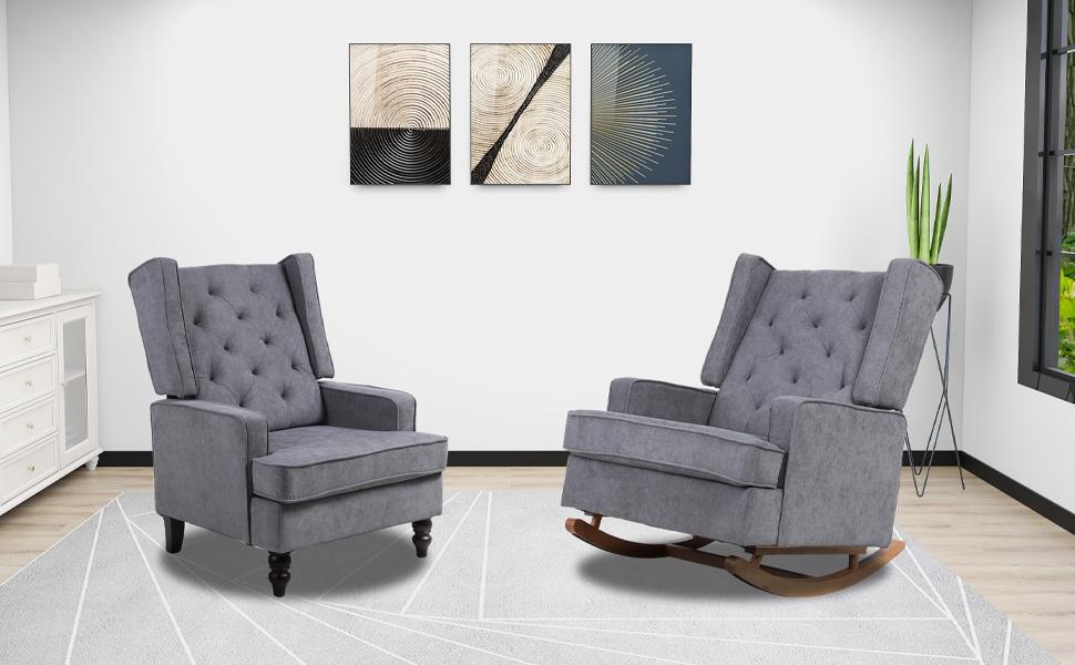 Modern rocking chair glider rocker nursery living room chair accent wingback armchair