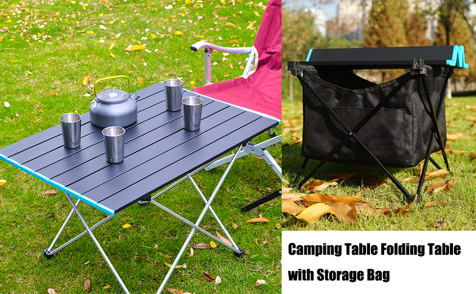 camping table with storage bag
