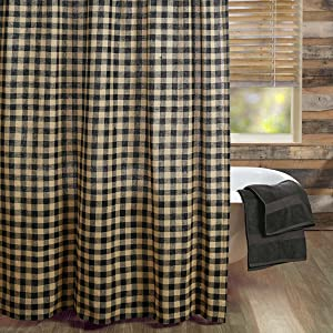 Burlap Black Check shower curtain primitive country rustic VHC Brands