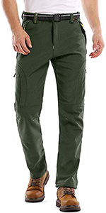 Men's Fleece Lined Outdoor Cargo Hiking Pants Water Repellent Softshell Snow Ski Pants with Pockets