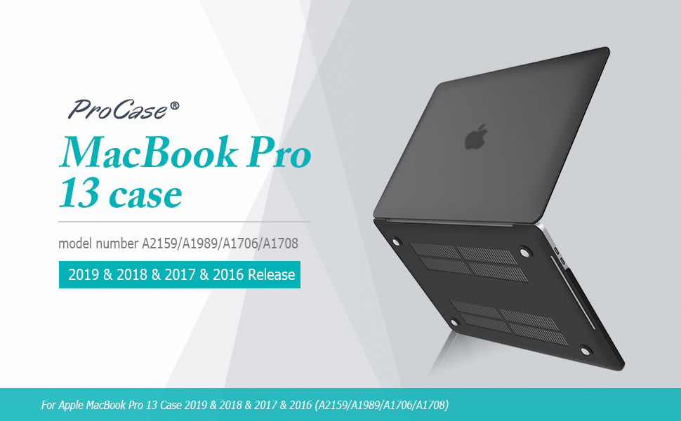 ProCase MacBook Pro 13 Case 2019 2018 2017 2016 Release A2159 A1989 A1706 A1708, Hard Case Shell Cover and Keyboard Skin Cover for Apple MacBook Pro ...