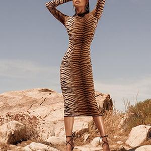 Snakeskin Print long dress