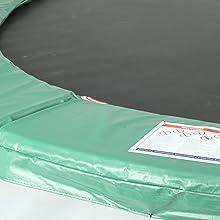 Groene dik gevoerde veerafdekking bedekt de veren en het frame ter bescherming tegen letsel