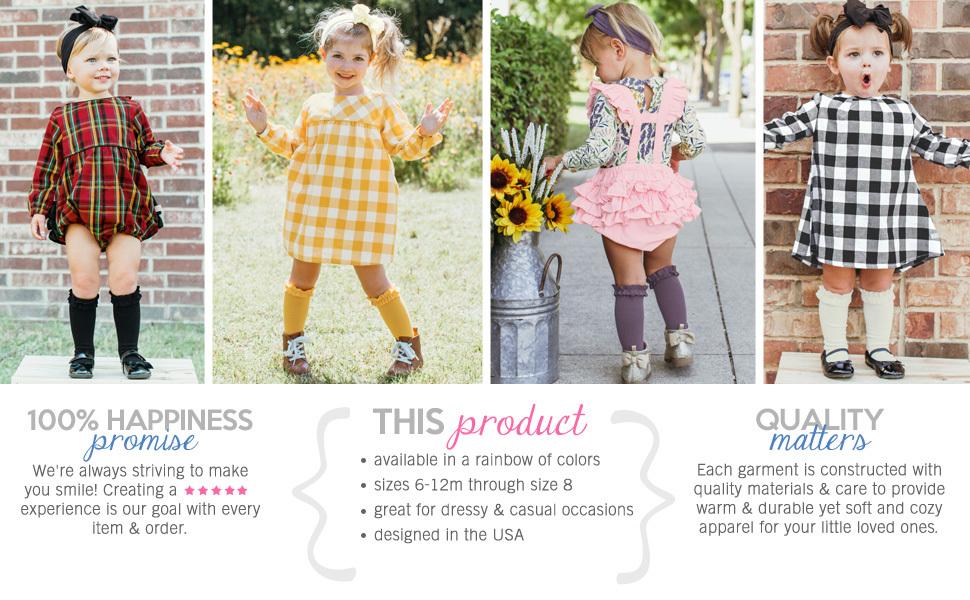 RuffleButts Girls 3-Pack Knee High Socks with Ruffles