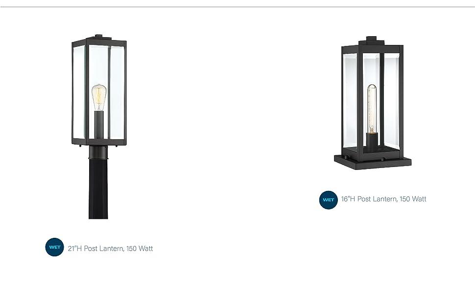 landscaping lighting, post mount, post lantern, black finish lighting, golden finish lighting,