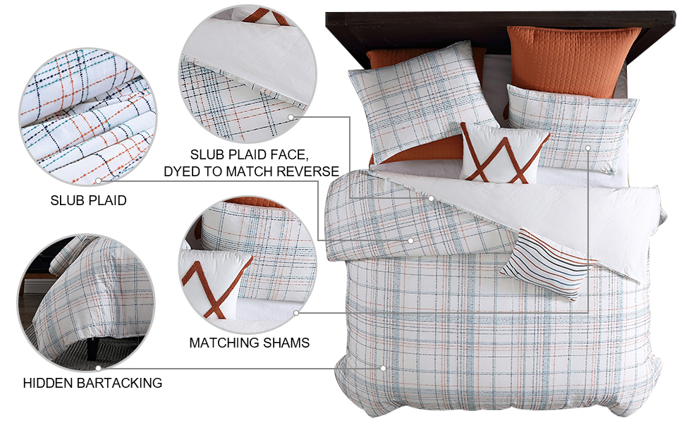 Caspian Slub Plaid 3-Piece Comforter Set