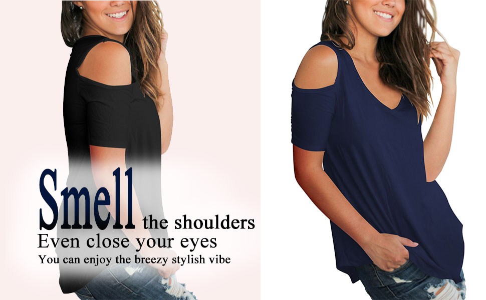 summer cold shoulder tops cut-out tee shirts for women