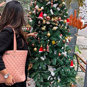 Christmas Ball on Tree Tote Bag Purse for Womens Handbag Leather Girl