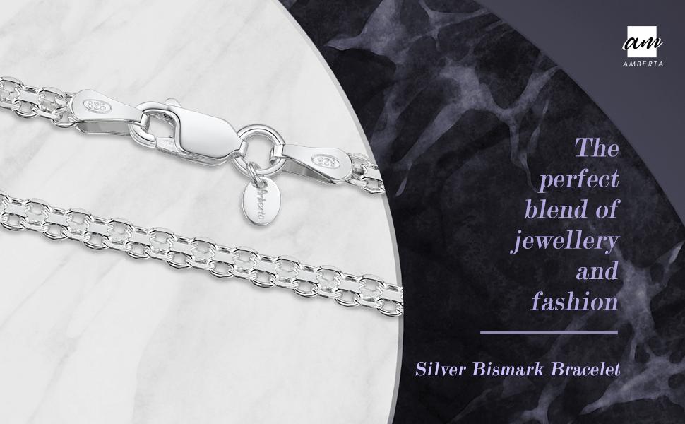 Amberta Gioielli - Bracciale - Catenina Argento Sterling 925 - Modello Bismark