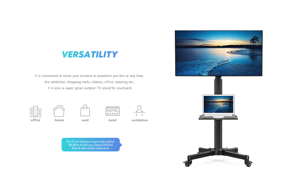 Rolling TV Stand with Bracket Mount for 27 32 42 43 45 47 49 50 55 inch LCD LED