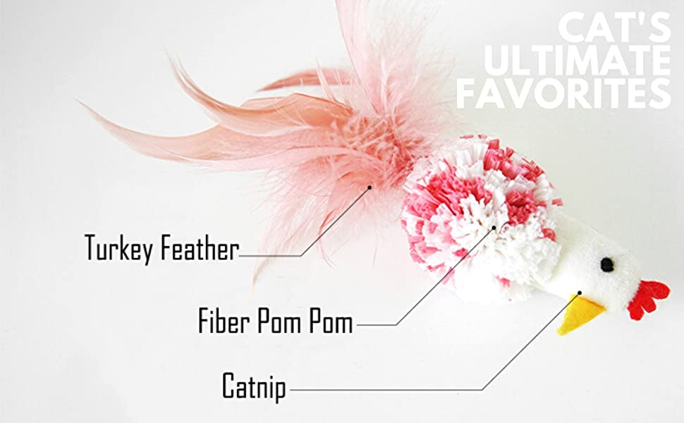 feather cat toy, cat's favorite toy, chicken cat toy