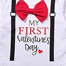 Seyouag Valentines Day Outfit Baby Boy Gentleman My First Valentines Day Long Sleeve Romper and Heart Pants Clothes Set
