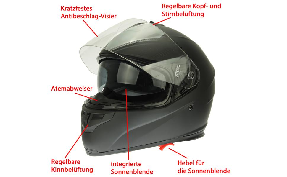 Mach1 Integralhelm Helm Motorradhelm Mit Integrierter Sonnenblende Ece R 22 05 Größe Xs Bis Xxl Schwarz Matt Visier Getönt Sport Freizeit