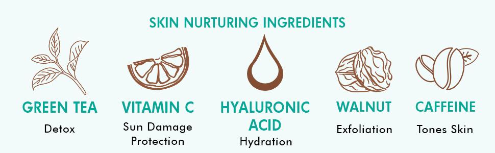 green tea detox vitamin c sun damage protection hyaluronic acid hydrates walnut exfoliation caffeine