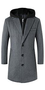 Men's Wool Blend Overcoat with Detachable Hooded Trench Coat Knee Length