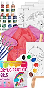 KEFF Acrylic Paint kit for Kids, 34-Piece Art Supplies for Girls, 12 Paint Tubes