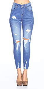 High waist destroyed jeans