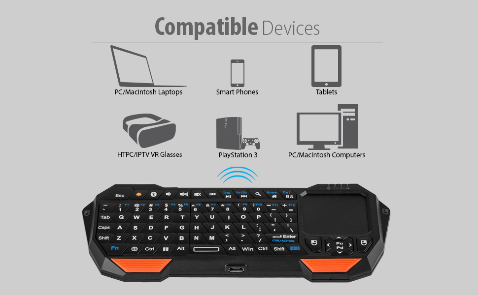 Fosmon Portable Lightweight Mini Wireless Bluetooth QWERTY Keyboard