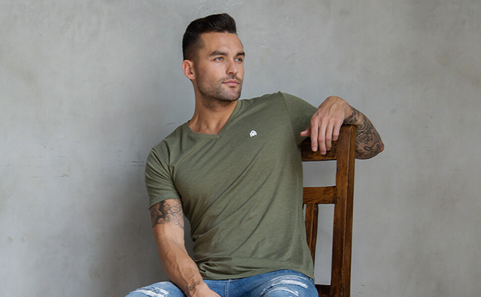 into the am basic v neck olive elevated everyday apparel