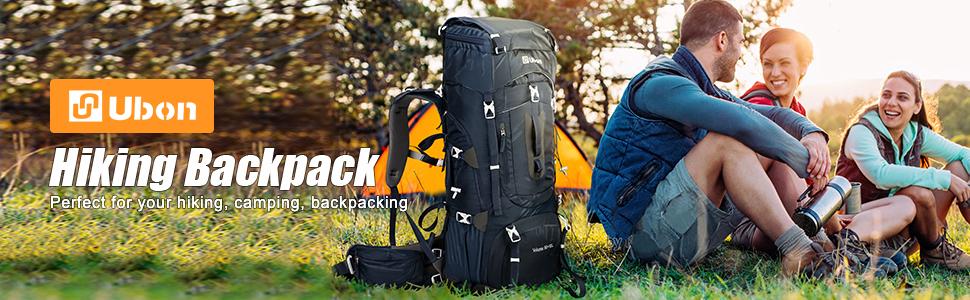 Ubon 60L Internal Frame Hiking Backpack with Rainfly