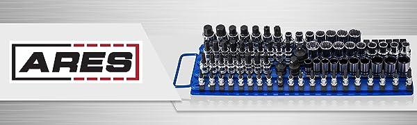 capacidad para 80 Rojo 3-H Organizador de llaves de vaso Organizador de 80 piezas 3//8 pulgadas 1//2 pulgada para llaves de vaso de 1//4 pulgadas