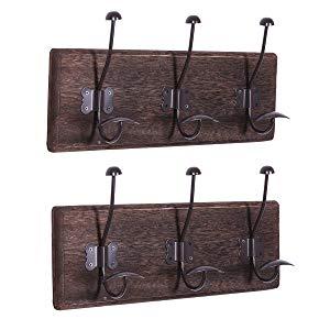 Comfify Rustico Montado en la Pared Rack con 3 Ganchos Robustos - Juego de 2 –Entrada Vintage Percheros de Madera - Rustico Rack para Abrigos, Bolsos, ...