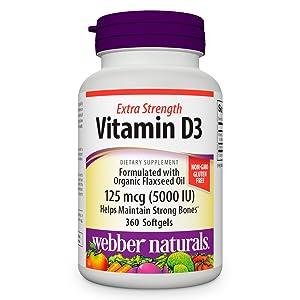 Vitamin D3 D Extra Strength 5000IU Organic Flaxseed oil