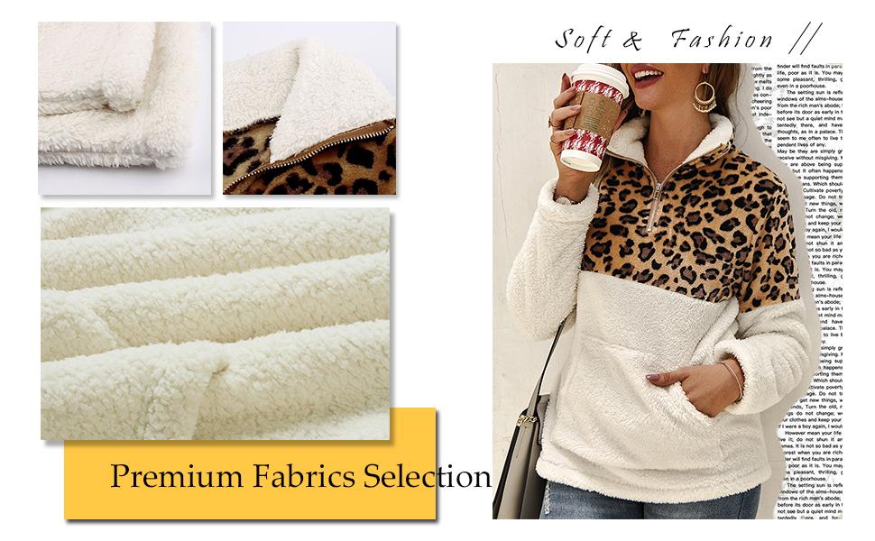 Frieed Women Pockets Leopard Print Hooded Zip-Up Classic Sweatshirt Jacket