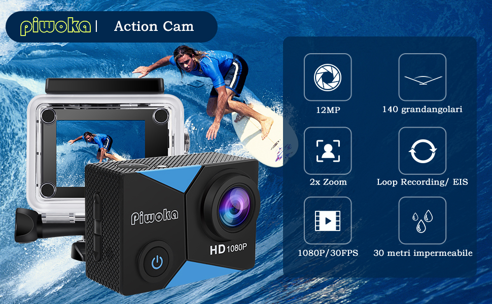 Piwoka Action Cam blu nero