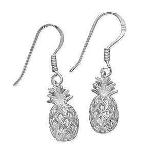 Sterling Silver Pineapple Hook Earrings