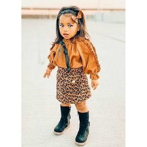 Ruffle Top Lepard Skirt Set