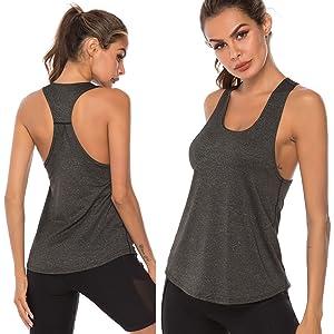 ZEFOTIM Cross Back Tops Women Workout Yoga Shirt Sleeveless Racerback Workout Active Tank Top
