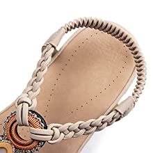 Womens Sandals Casual Comfortable Flip Flops Summer Beach Shoes Ankle Elastic Strap Flat Sandal