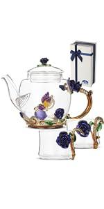 glass floral fancy tea set