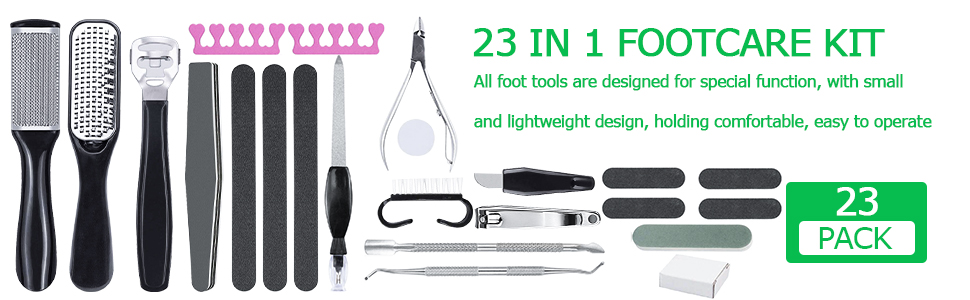 23 in 1 Pedicure Kit Professional Manicure Foot Nail Tools Supplies Set