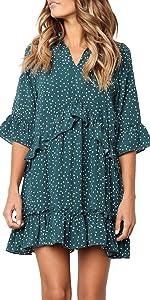 Ruffle Polka Dot Pocket Dress