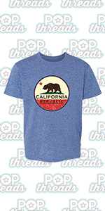 Pop Threads California State Flag Republic Los Angeles Bear Toddler Kids Girl Boy T-Shirt