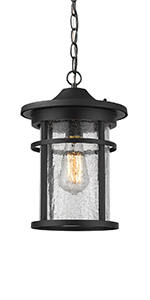 Emliviar Outdoor Hanging Lantern Light Fixture 1 Light Exterior Pendant Porch Light In Black Finish With Crackle Glass A208511d1 Amazon Com