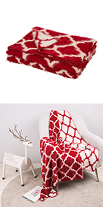 "60""L*50""W Reversible Knitted  Nylon Eyelash Yarn Red/White Throw Blanket"