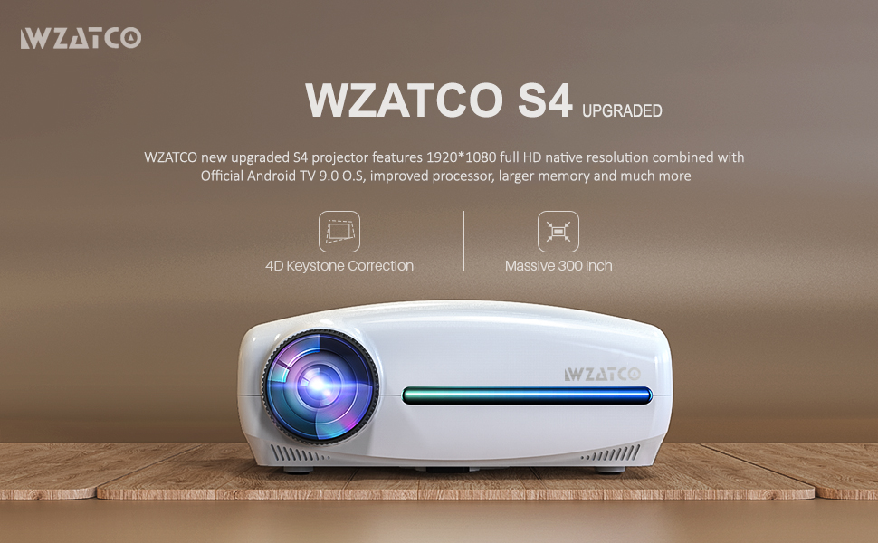 wzatco new s4 android 9 projector