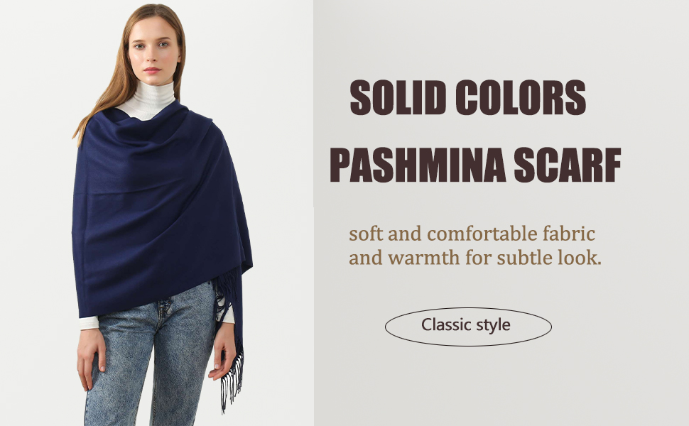 Solid Color Cashmere Scarf Pashmina Shawls and Wraps for Women Winter